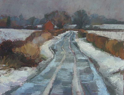 Mary Spicer, Another blizzard looming 2010, oil on canvas, 70cm x 90cm