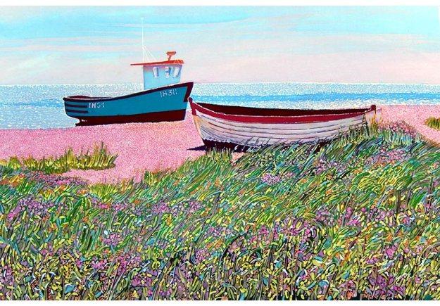 caryl-challis-aldeburgh-beach-boats-batik