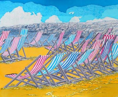 Caryl Challis, Beach Deckchairs, wax resist on cotton