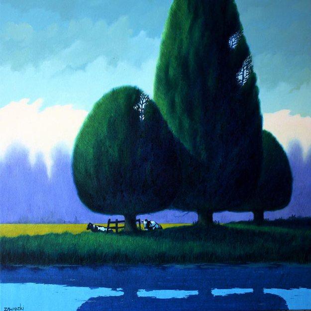 Paul Zawadzki, Lazy Afternoon, oil on canvas, 80x80cm