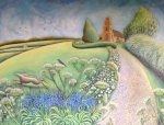 Hannah Giffard, Hare and Swallows in midsummer, oil on canvas