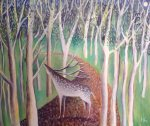 Hannah Giffard, Stag in the woods, oil on canvas