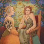 Alan Frewin, Baldovinetti Hello To Matisse, oil on canvas, 50cmx50cm