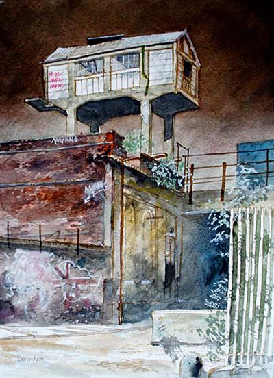 David Rock Shoreditch II, watercolour painting