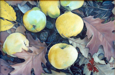 Quinces, Leaves and a Comma, oil on canvas, 60x40cm