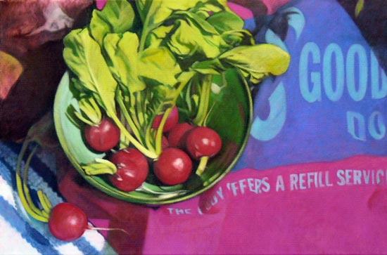 jane german painting - radishes in a bowl