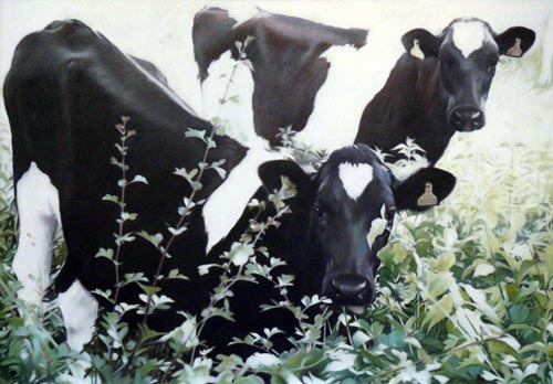 jane german painting, three friesians hedge