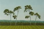 Barbara Bernard, Four trees, South Cove, oil on canvas, 40cmx60cm