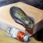 Malcolm Cudmore, Complementary Veg, oil on board, 20cmx20cm