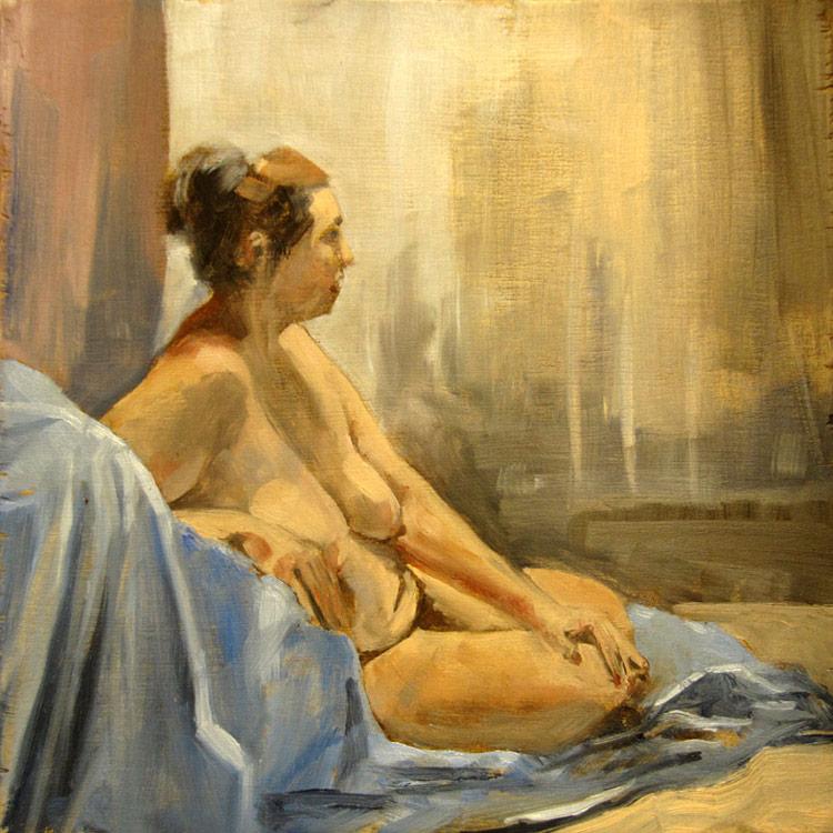 Malcolm Cudmore, Figure study, oil on board, 20cmx20cm