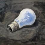 Malcolm Cudmore, Lightbulb moment, oil on board, 20cmx20cm