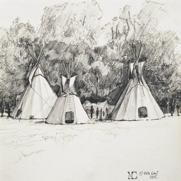 Malcolm Cudmore, Tipis at at Folk East, graphite on paper, 20cmx20cm