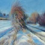 mary-spicer-hedgerow-snow-winter-sun-oil-on-canvas-2012-50x50cm