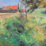 mary-spicer-norfolk-farmhouse-quiet-lane-oil-on-canvas-2012-50x50cm