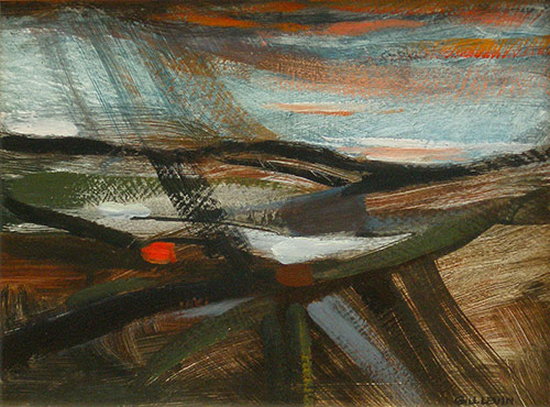 Gill Levin, Wind and rain over the land, oil on board