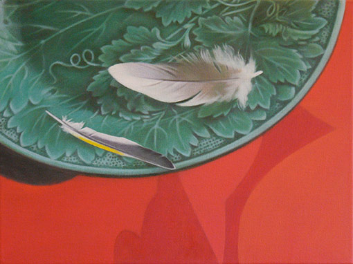 Jane German, Green leaf plate and feathers, oil on canvas
