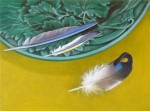 jane-german-mallard-jay-and-goldfinch-feathers-green-plate-oil-on-board-24x18cm
