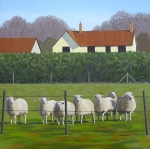 barbara-bernard-sheep-at-bedingham-oil-on-canvas-50x50cm