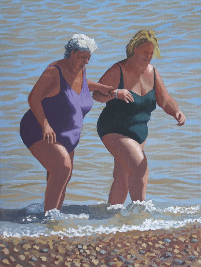 barbara-bernard-southwold-bathers-oil-on-canvas-40x30cm